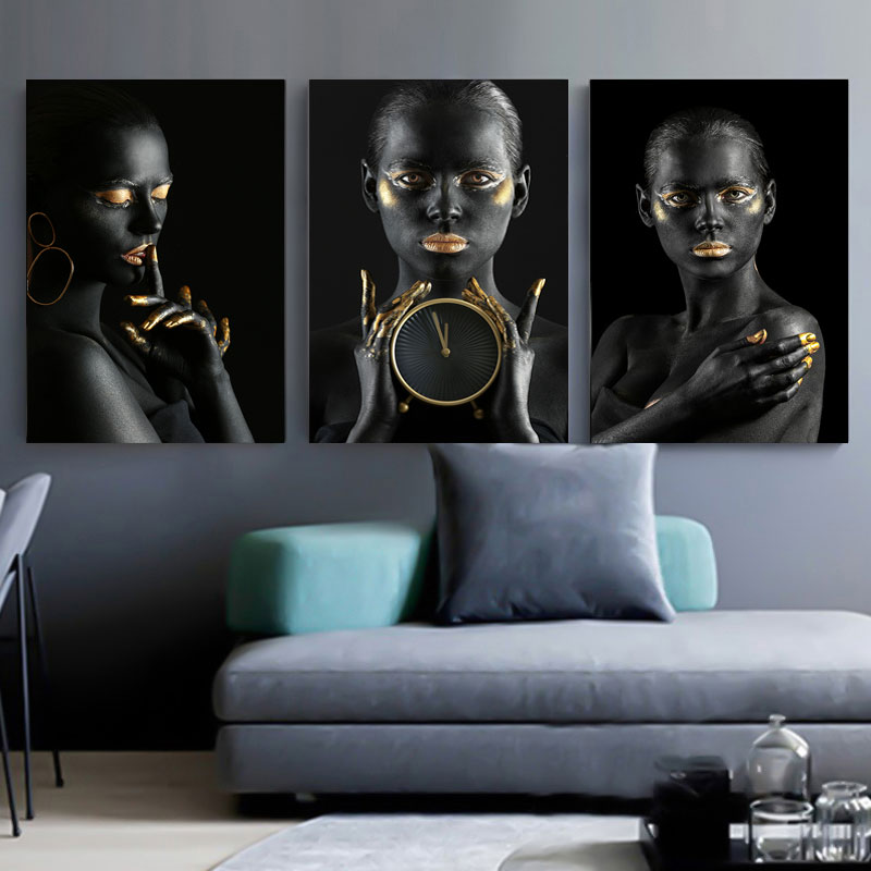 Black Gold Nude African Art Woman Oil Painting on Canvas Cuadros Posters and Prints Scandinavian Wall Picture for Living Room|Painting & Calligraphy|   - AliExpress