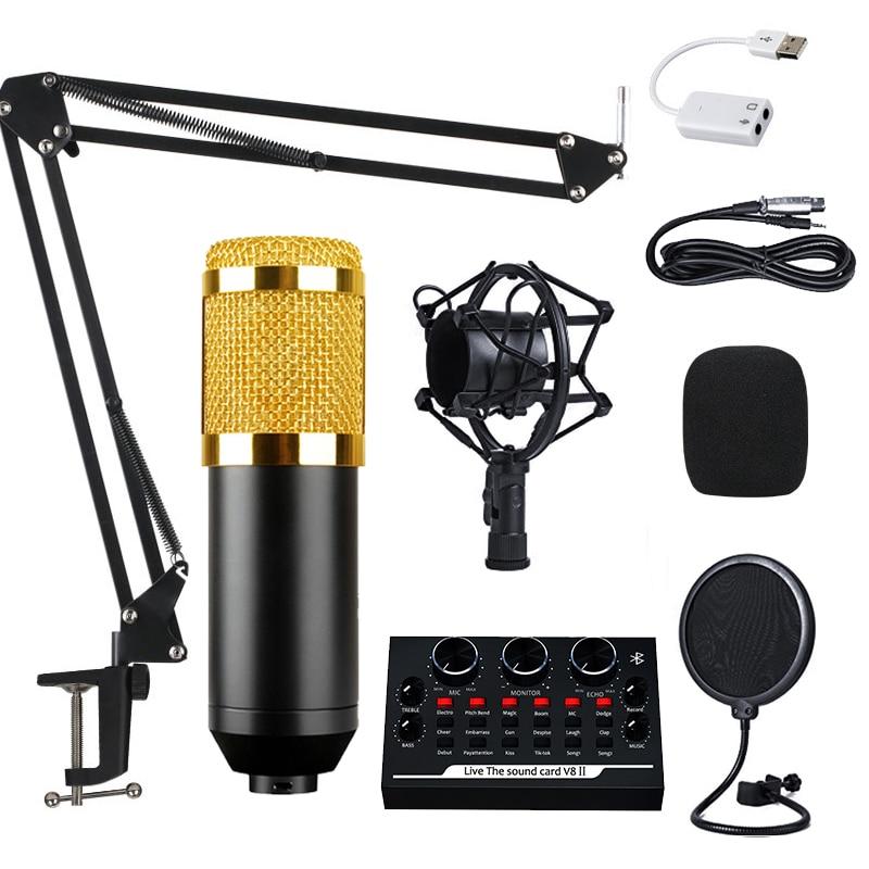 Профессиональный конденсаторный микрофон BM800, микрофон для записи голоса для телефона, микрофон для ПК, микрофон в комплекте, микрофон для к...