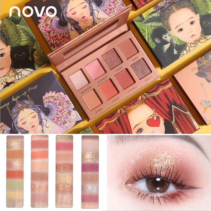 Novo 8 cores fairyland galaxy glitter fosco sombra à prova dwaterproof água paleta de longa duração nude maquiagem sombra de olho beleza estilo coreano