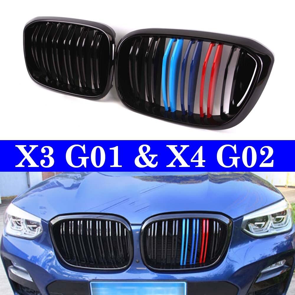 Двойные рейки Передняя решетка для почек для BMW X3 G01 X4 G02 xDrive20i xDrive30i 2018 + гоночная решетка