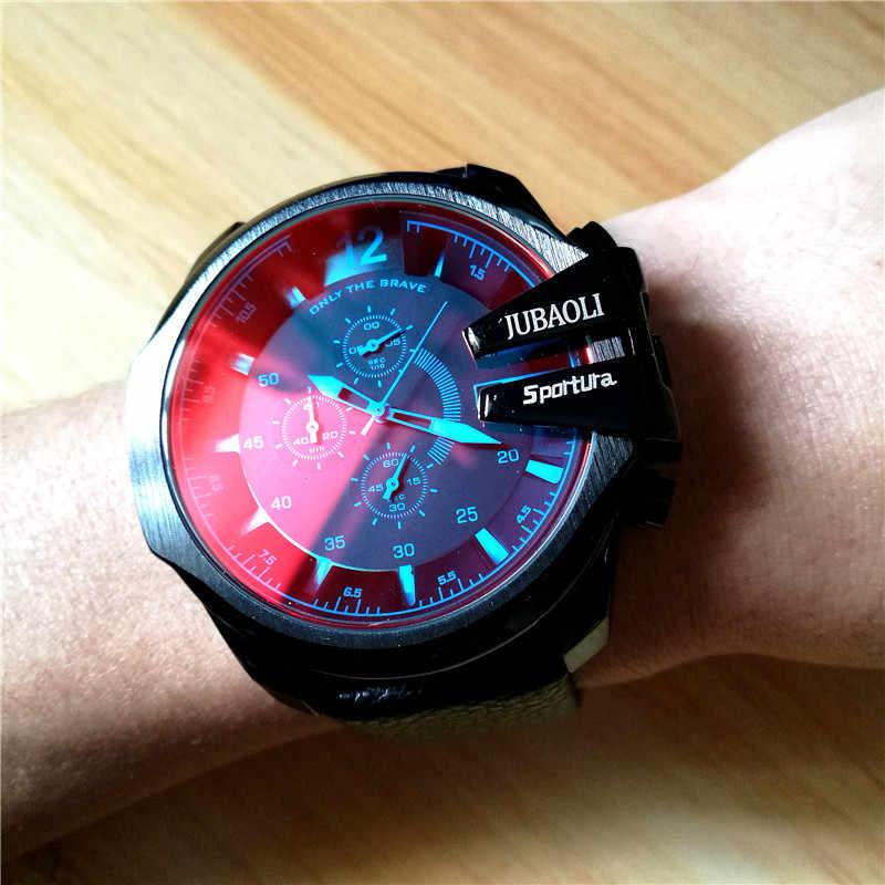 מותג כפול זמן תצוגת עסקים שעונים עבור גברים עמיד למים ספורט קוורץ הצבאי הכרונוגרף שעוני יד מתנת Relogio Masculino