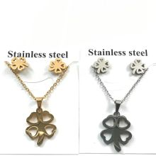 tainless Steel Clover Gold Color Leaf Heartbeat Heart to Heart Bar Crucifix Jesus Christian Cross Pendant Necklaces for Women(China)