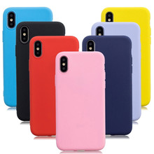 Phone Case For iPhone 7 6 6s 8 X Plus 5 XR XS Max case luxury Simple Solid Color Ultra thin Soft TPU Case Candy Color Back Cover цена