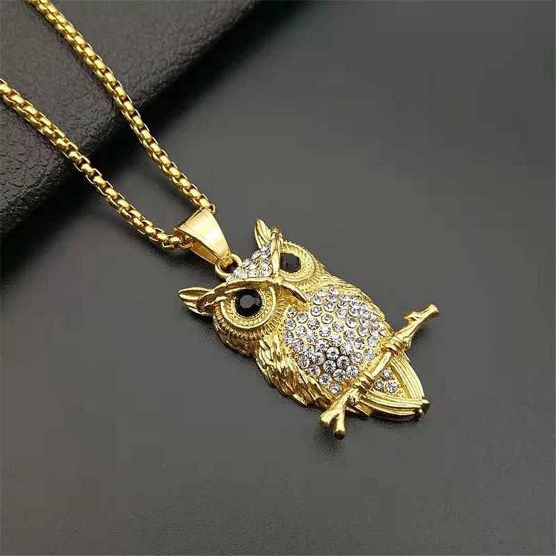 Hip Hop Iced Out sowa wisiorek naszyjnik dla kobiet złoty kolor ze stali nierdzewnej zwierząt Bling AAA naszyjnik cz biżuteria damska