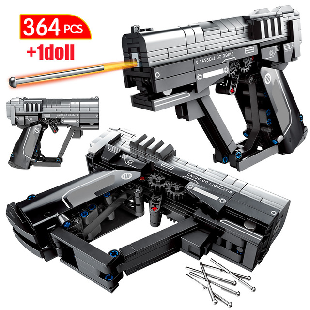 City PolicePistol Gun Model Building Blocks Military Technic Gun Bullet WW2 Weapon Figures Bricks Educational Toys for Children