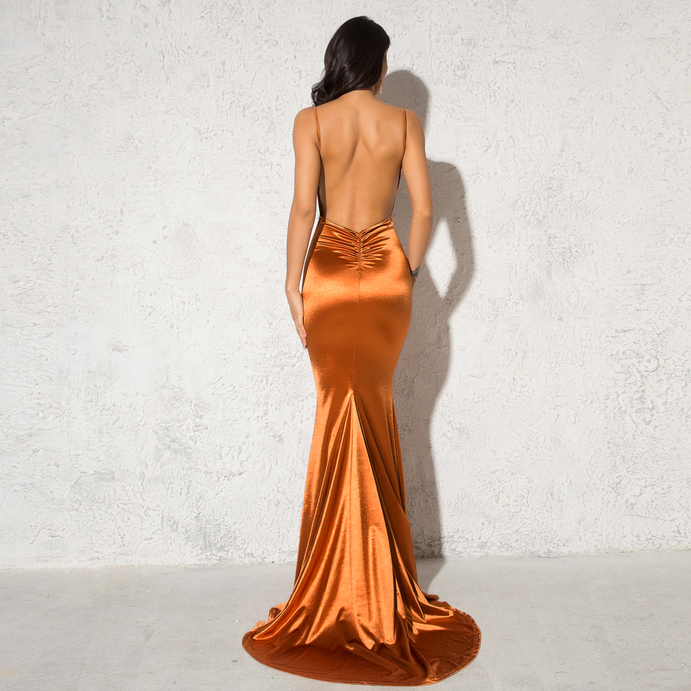 Deep V-Neck Burgundy Satin Mermaid Open Back Long Evening Dress 21