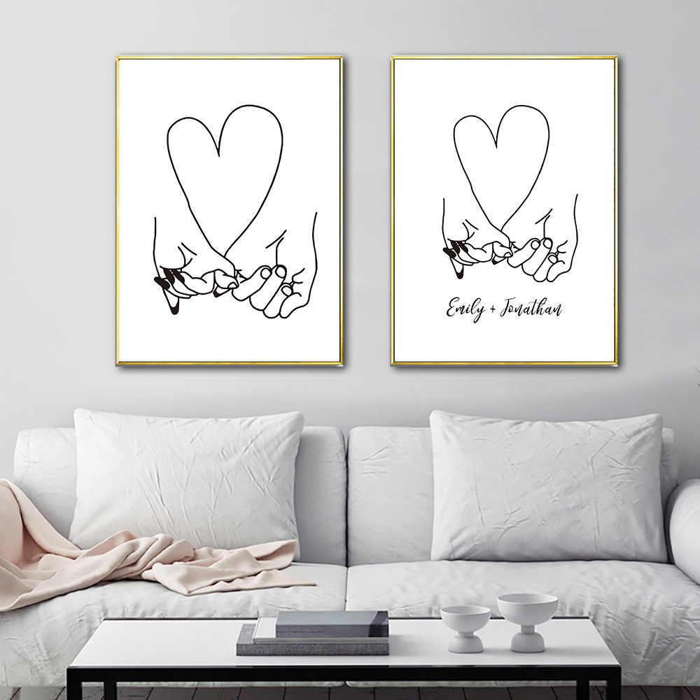 Abstrak Garis Jantung Tangan Kanvas Cetak Pasangan Berpegangan Tangan Dinding Seni Gambar Cinta Sketsa Romantis Gambar Poster Lukisan Kamar Tidur