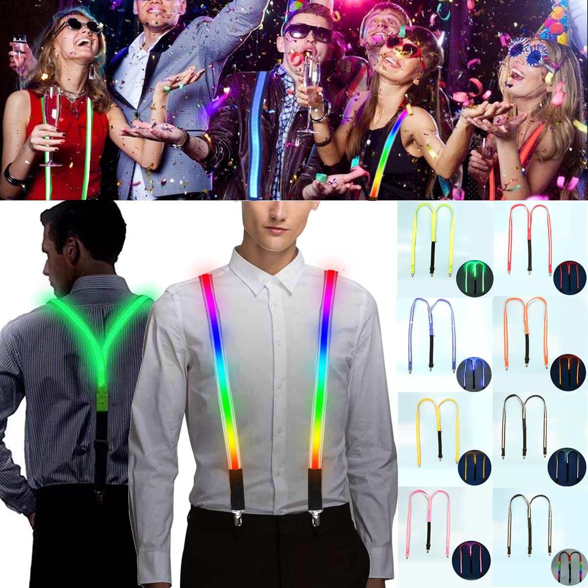 1PCS Printed LED Suspenders Men 3 Clips-on Braces Vintage Mens Suspender For Trousers Husband Male Suspensorio For Skirt