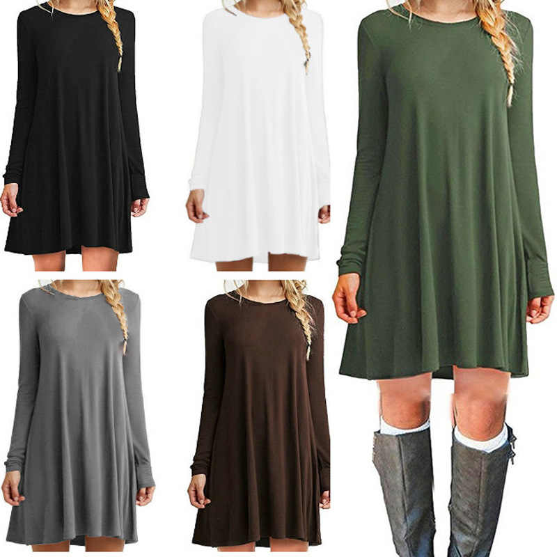 New Summer Women's Short Sleeve Large Size S-2XL Solid Color Dress Round Neck Short Sleeve Loose Slim Commuter Casual