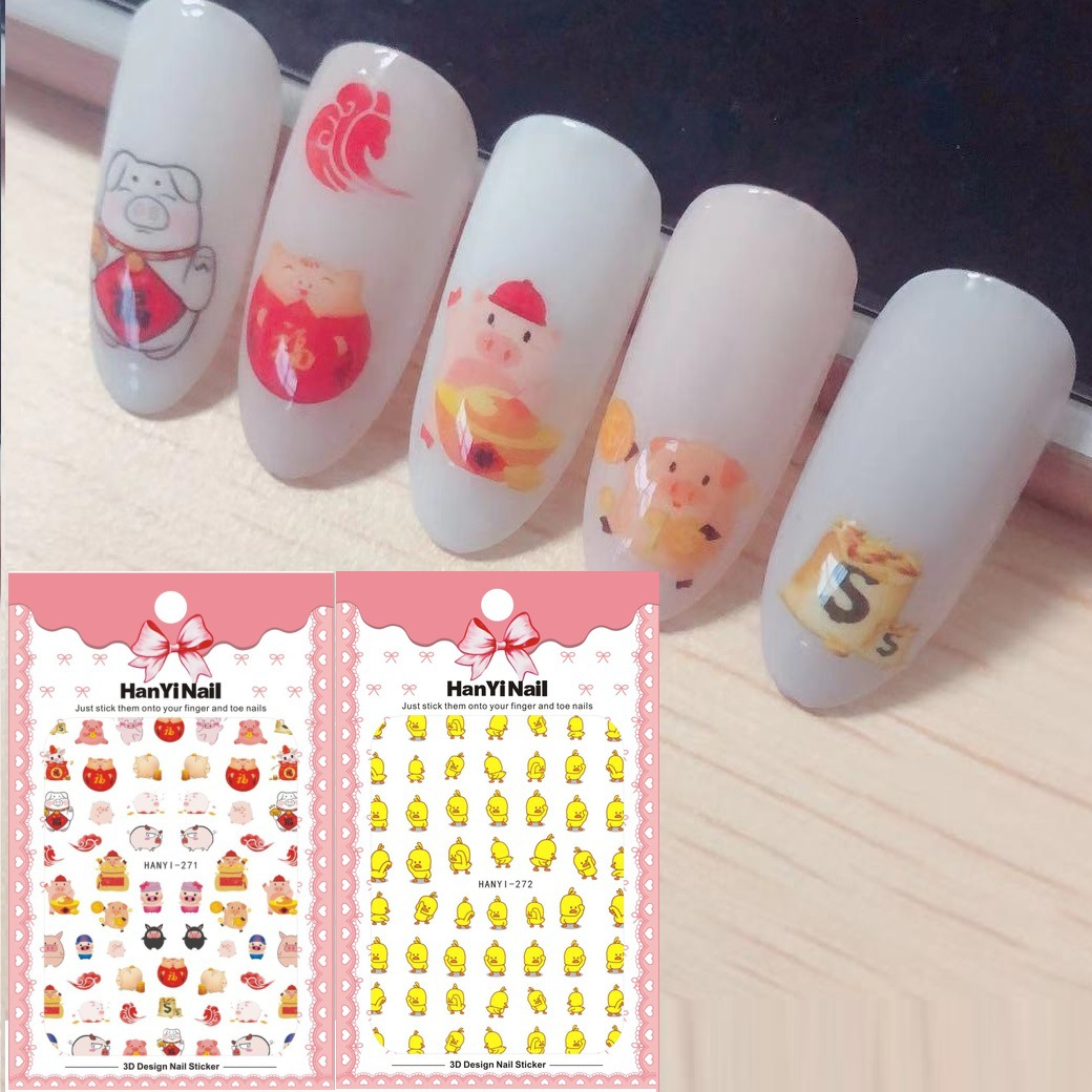New Year-Manicure Flower Stickers Nail Decals Lucky Pig Online Celebrity Yellow Duck HANYI271-272