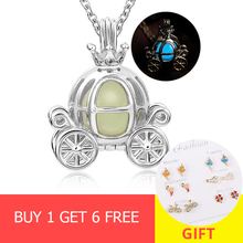 XiaoJing 100% 925 sterling silver carriage charm glowing pendant chains necklace diy fashion jewelry making for women gifts