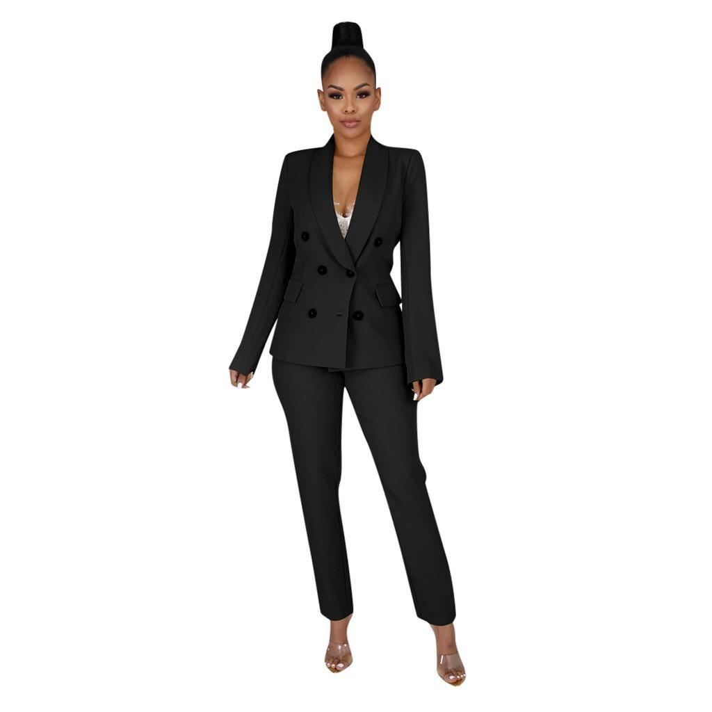 Vintage Women Pant Suit Formal Black Red Blazer Jacket Pant 2020 Office Wear Female Office Casual Suit Set