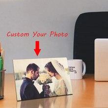 Niestandardowe drewniane ramka na zdjęcia ramka drukuj Photoes Lover obraz ślubny dekoracja stołu dla niego spersonalizowane prezenty na rocznicę
