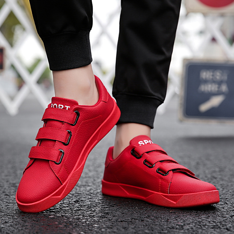 Spring Summer Rubber Men Shoes Popular Sweat-Absorbant Flats Male Causal Shoes Hook And Loop Comfortable Massage Leisure Sneaker