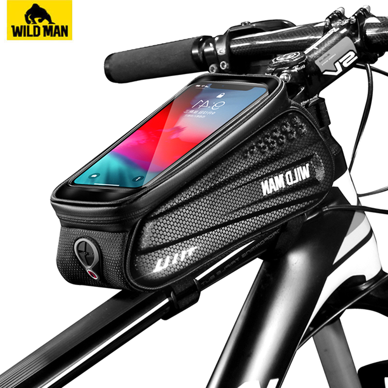WILD MAN 6.2 Inch Waterproof  Bicycle Front Tube Bag Bike Touch Screen Phone Case Bag Bike Top Tube Bag Cycling Accessories