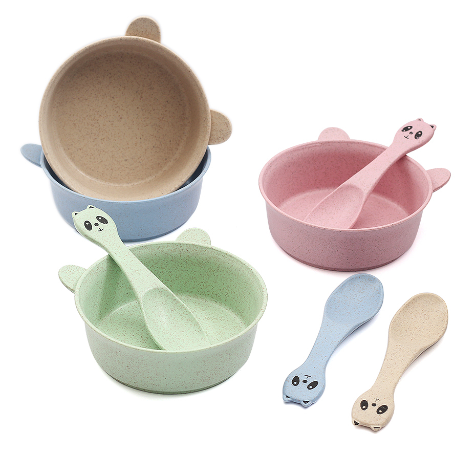 2Pcs/set Wheat Straw Baby Feeding Food Tableware Cartoon Panda Kids Dishes Baby Eating Dinnerware Set Baby Training Bowl Spoon