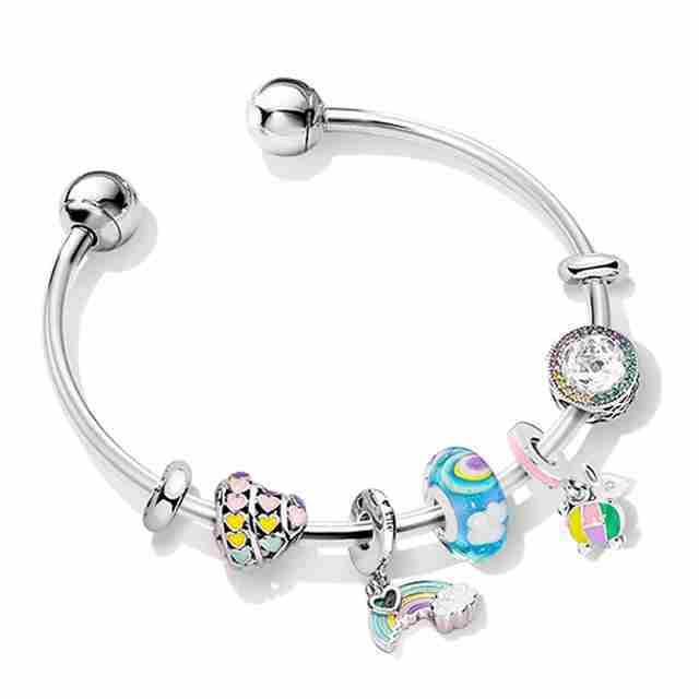 Store100�5 argent sterling nouveau bracelet combiné inspiration naturelle calme vagues après la pluie ciel et arc-en-ciel