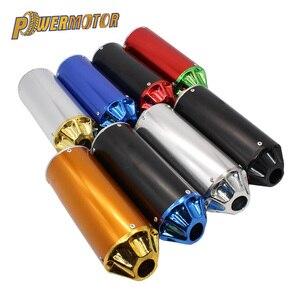Универсальный алюминиевый глушитель для мотоцикла 28 мм, 8 цветов, регулируемый двухтактный глушитель для уличного скутера, вездехода, велос...