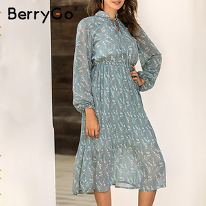 Image 3 - BerryGo Elegant floral print dress women Spring summer long sleeve dress female Tie neck pleated holiday long dress vestidos
