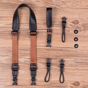 Image 1 - Vintage Original Handmade Genuine Leather +Webbing Simple Camera Shoulder Strap DSLR Neck Wrist Belt for Canon/Nikon/Sony
