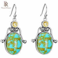 Bague Ringen Hyperbole Oval-shaped Turquoise Earrings for Women Gorgeous Silver 925 Jewelry Topaz Ear Studs Anniversary gift