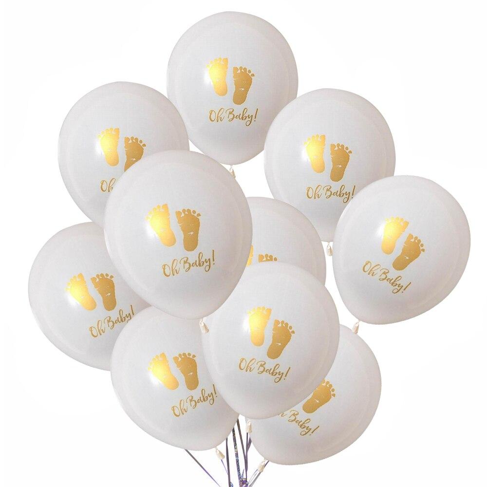 10 шт. 10 дюймов с надписью Oh Baby латексные шарики с принтом маленьких средства ухода за кожей стоп узор для День рождения подкладкой детская ве...