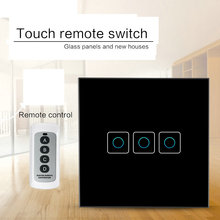 цена на 433 Mhz Wireless Remote Control Switch EU Standard 3 Gang 1 Way Glass Panel Light Touch Switches, Smart Home RF433 Remote Switch