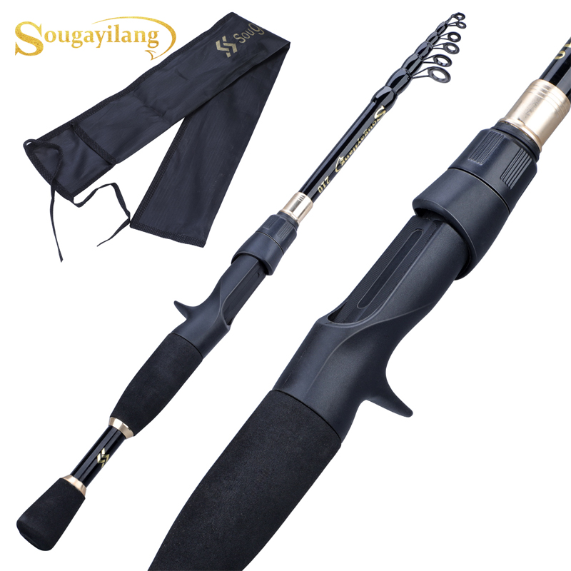 Sougayilang Portable Telescopic Fishing Rod  1.8-2.4m Ultralight Weight Carbon Fiber Spinning Casting Rod Fishing Tackle