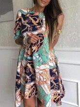 цены 2020 Autumn Women Elegant Loose Mini Leisure Dress Female Vacation Holiday Cutout Dress Chain Print Irregular Hem Casual Dress