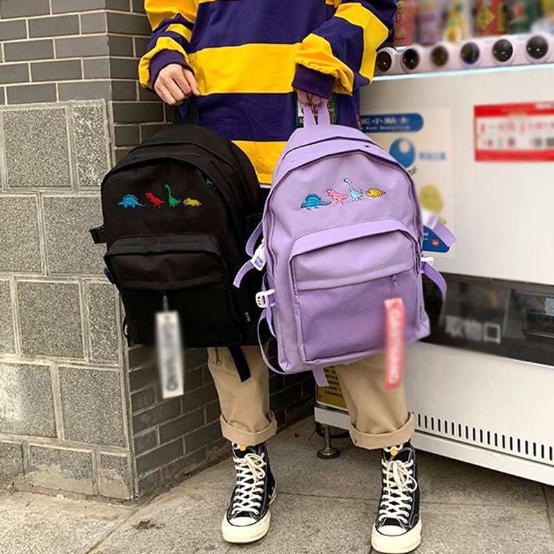 New Backpack For Women Multi Pocket Travel Backpacks Dinosaur Embroidery Unisex Student Backpack Canvas Solid Color Shoulder Bag