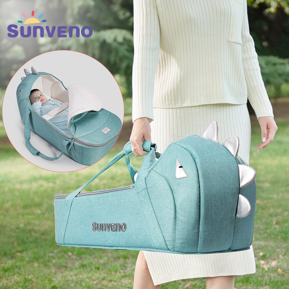 Sunveno Portable Baby Carrycot Bassinet Baby Travel Bed Crib Infant Transporter Basket Newborn Clamshell Bed For Baby 0-12Months