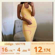 FSDA 2021 Knitted Bodycon Dress Women Y2K Halter Neck Summer Yellow Sleeveless Midi Backless Party Sexy Dresses Beach