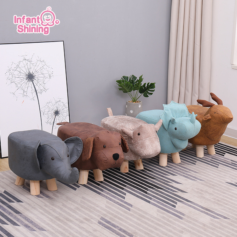 Infant Shining Kids Chair Children Cartoon Animal Stool Home Solid Wood Small Bench Baby Sofa Stool Footstool Elephant Dinosaur