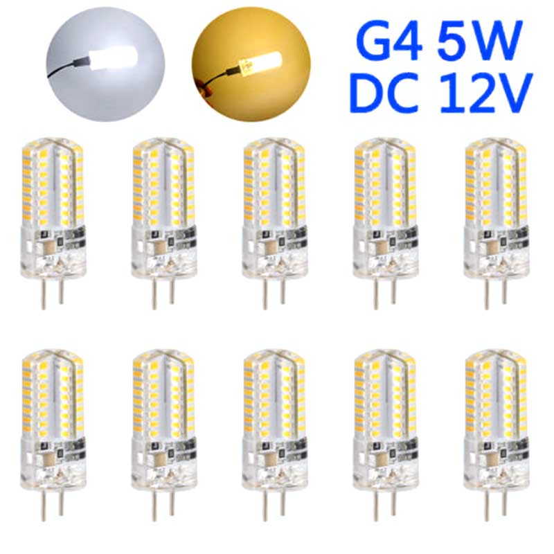 10Pcs G4 5W <font><b>LED</b></font> Light Corn <font><b>Bulb</b></font> DC12V Energy Saving Home Decoration Lamp Silicone <font><b>360</b></font> Beam Angle Replace 40W Halogen Chandelier image