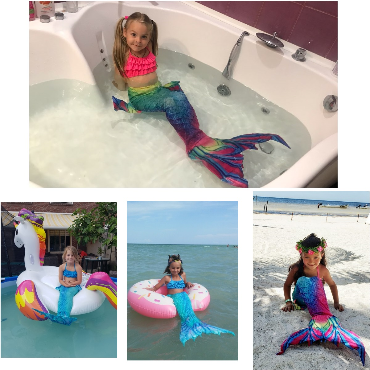 Image 2 - Kids Mermaid Swimsuit Bikini Girls Mermaid Tail with Finned Swimsuit Child's Wear Split Swimsuit Mermaid Tail Clothing Swimwear-in Girls Costumes from Novelty & Special Use