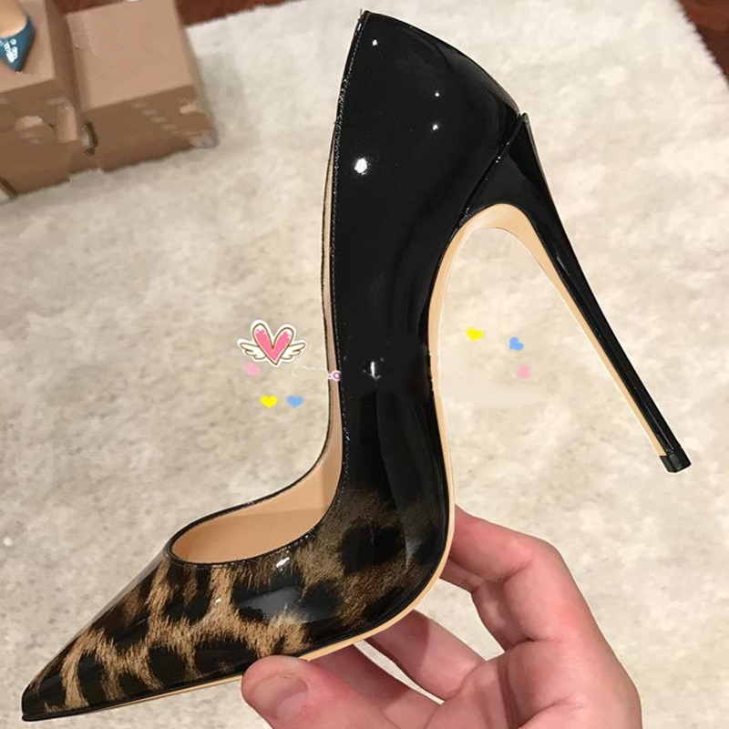 Stylish Gradient Leopard Women Shoes Pointed Toe Print Leather Patchwork High Heel Dress Shoes 12cm Stiletto Heel Shallow Pumps