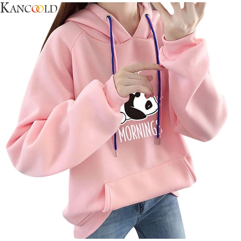 KANCOOLD Women Sweatshirt Winter Christmas Hoodies Character Print I Hate Morinings With Pocket Casual Tops New Arrival