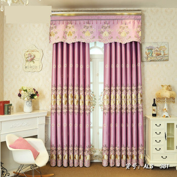 Custom curtains European  window Velvet pink  embroidered bedroom cotton cloth blackout curtain tulle valance drape M818