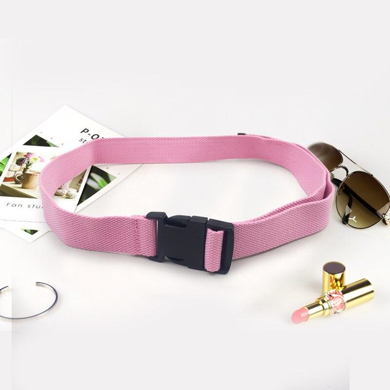 Модный черный холщовый ремень для женщин, повседневные женские поясные ремни с пластиковой пряжкой Harajuku, однотонные длинные ремни ceinture femme - Цвет: Pink
