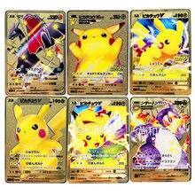 Pokemon 7 estilos japonês pikachu gx mega ouro metal cartão super jogo hobbies ação brinquedo figuras cartões brinquedos para crianças presente