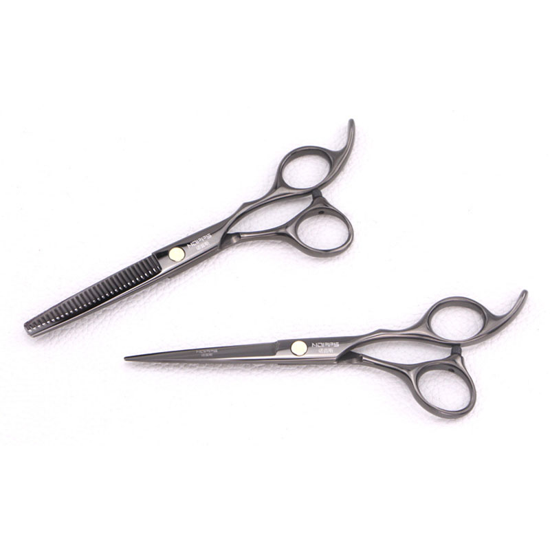 Professional Hairdressing Scissors Black And Color Titanium Plating Flat Cutting Scissors Bangs Cut Thinning Shears Hair Cutting