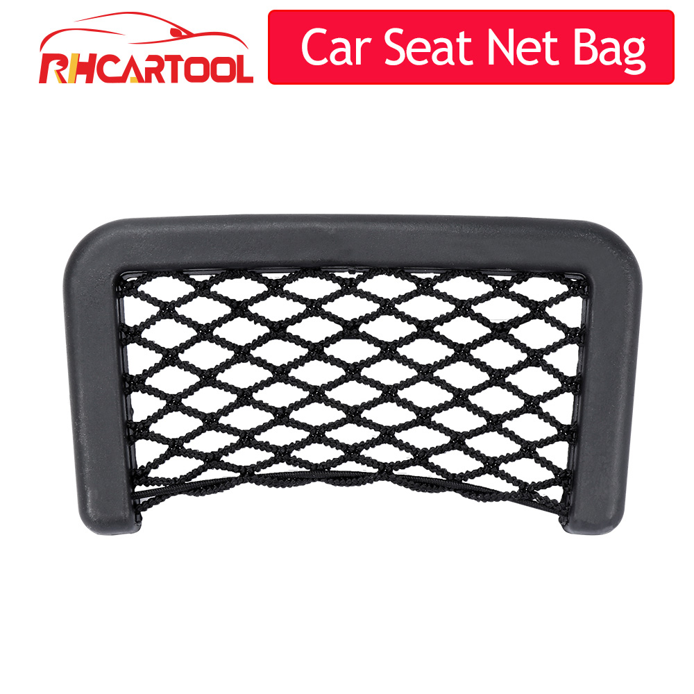 Car accessories Small Car Seat Side Back Storage Net Bag String Bag Mesh Pocket Organizer Stick-on for wallet phone Net Bag