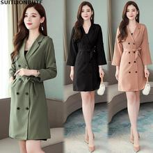 Autumn Solid Elegant Ladies M-4XL Plus Size Trench Coat Double Breasted Sashes S