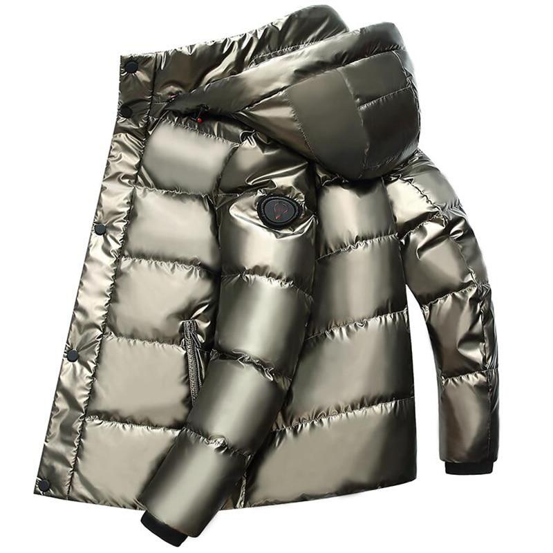 Para baixo Homens Jaqueta Curta 2019 Novos Homens Casaco de Inverno Parka Quente Grosso Com Capuz 90% de pato Branco Para Baixo Homens Jaqueta Impermeável roupas - 4