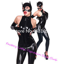 Sleeveless Latex Rubber Catwomen Bodysuit with Mask & Gloves Club Wear Catsuit with Back Zip Sexy Co