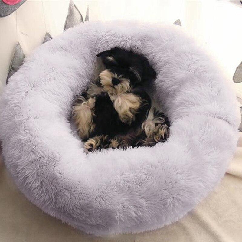 Luxo macio de pelúcia cama do cão forma redonda saco de dormir canil maschas sofá cama do cão pet casa inverno camas quentes almofada