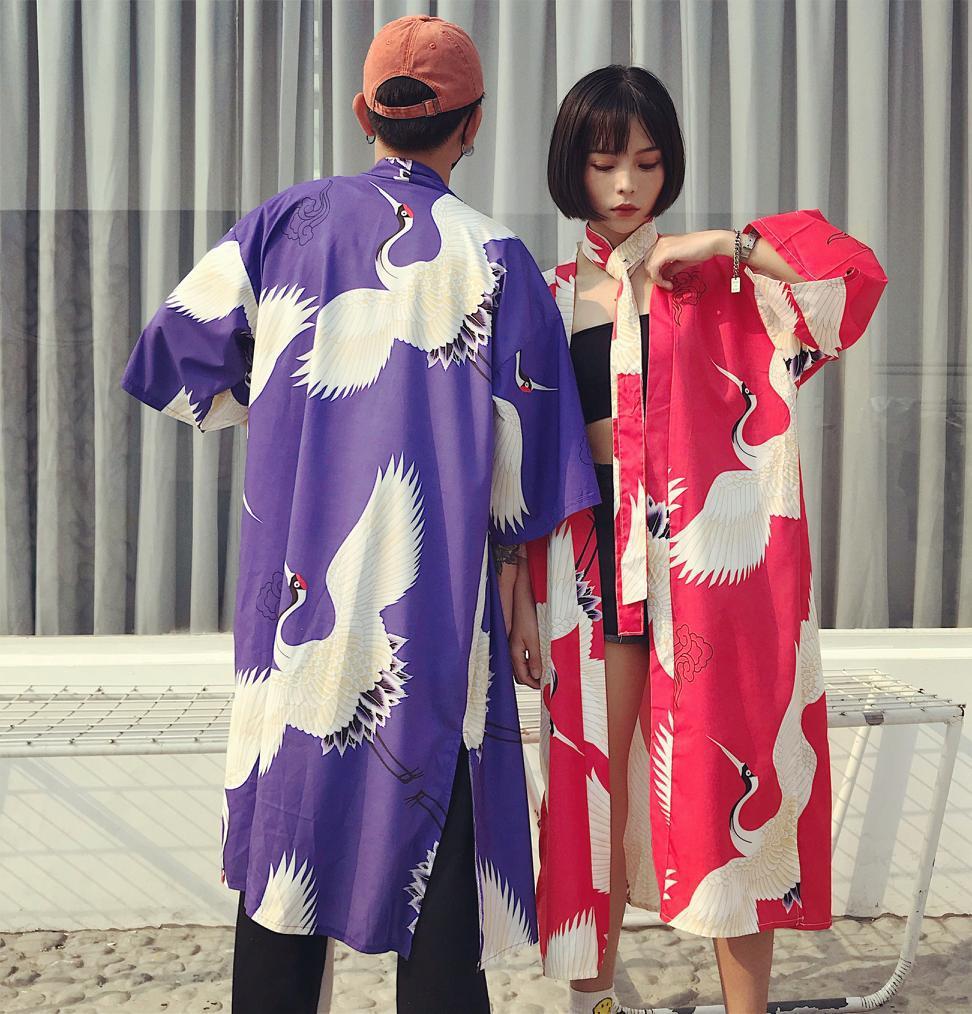 2019 Women Cardigan Haori Traditional Kimonos Japanese Crane Printing Kimono Yukata Kimono Cardigan Fashion Blouse