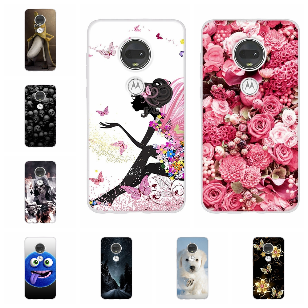For Motorola Moto G7 Plus Cover Soft TPU Silicone Case Girl Patterned Shell