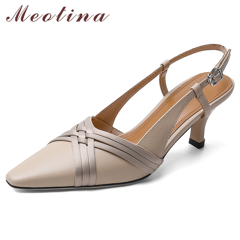 Meotina High Heels Women Pumps Natural Genuine Leather Thin High Heel Slingbacks Shoes Real Leather Buckle Shoes Lady Size 33-40