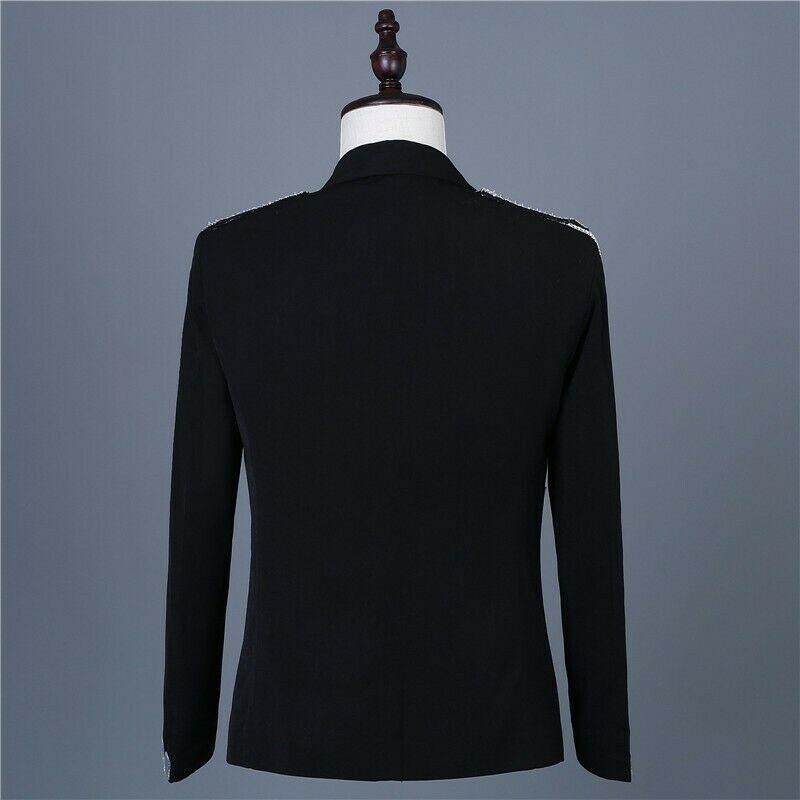 Men's One Button Glitter Tassels Blazer Slim Fit Costume Jackets Party Bar Men Coat N013 - 5